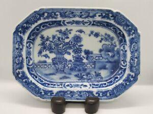 Antique Chinese Blue & White Octagonal Platter 18thc QianLong Qing 19cm