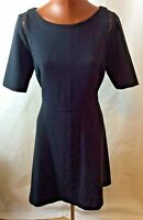 M & S Limited Edition Size 14 Black Fit Flare  Dress KA28 Office work Party