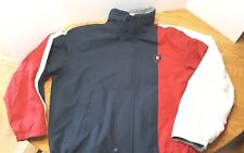 Nautica NX2000 L Reversible Red White Blue Fleece Spellout Jacket Boat Sailing