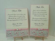 Handmade 'Rose Garden' wedding sign candy cart, sweet table, wish tree, post box
