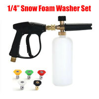 "1/4"" Pressure Snow Foam Washer Gun & Car Wash Soap Lance Cannon Spray Jet Bottle"