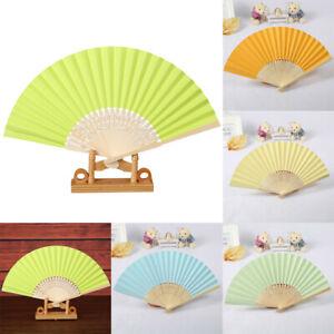 Pattern Folding Dance Wedding Party Folding Hand Held Solid Color Fan AU