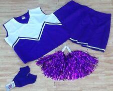 Adult Plus Size Purple Cheerleader Uniform Top Skirt Socks Poms 42-44/36-40 New