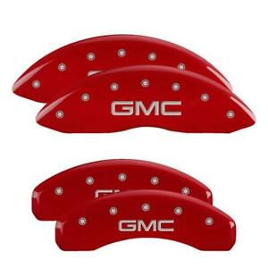 MGP 4 Caliper Covers Red GMC Front & Rear For 15-20 GMC Yukon XL Sierra 1500