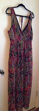 Plus Size 2x XXL Lined Maxi Dress Sleeveless  Leaf Print Tropical Elastic Waist