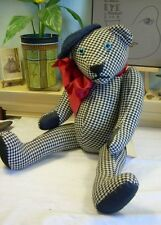 """20"""" Artist Teddy ROOSEVELT BEAR Co 1986 hounds tooth  Early excelsior stuffed"""