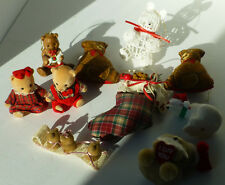 vintage bear christmas tree ornaments some hang and some sit on limbs