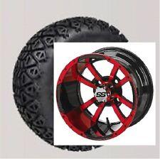 "Pair red blue white 12"" Aluminum Alloy Golf Cart Car Rims Wheels & Tires Mounted"