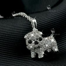 18K WHITE GOLD GP MADE WITH SWAROVSKI CZ BULL DOG PENDANT PUPPY NECKLACE