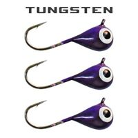 3 Pack - Tungsten Ice Fishing Jigs - PURPLE GLOW (6 Size Variations)