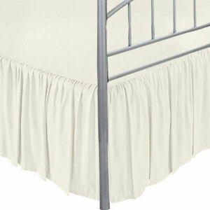 """Dust Ruffle Bed Skirt with Split Corner Ivory Solid Drop Up to 24"""" Gathered"""