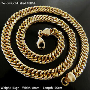 """Necklace 18k Yellow Gold Filled Solid Men's Curb Statement Link Chain 55cm 22"""""""