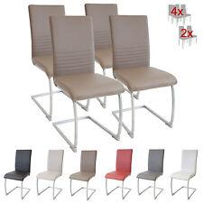 Esszimmerstühle MURANO, 4er Set, braun, Freischwinger Schwingstuhl Stuhl Leder