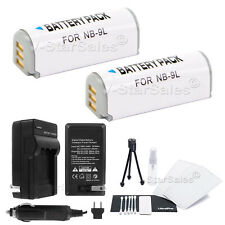 2x NB-9L Battery + Charger for Canon PowerShot SD4500 ELPH 510 520 530