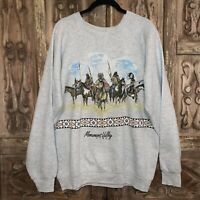 Vintage Native American Scene Wrap Around Crewneck Sweatshirt XL UTAH