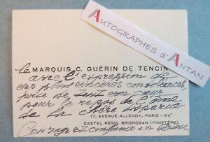 ♦ CDV Marquis C. GUERIN DE TENCIN Castel Régis BRIGNOGAN Finistère > M. Rostand