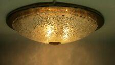 XXL DORIA 3- flammig Deckenlampe Plafonerie Eisglas Messing Ring '60er Jahre