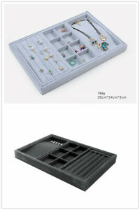 Large Multi Function Black/ Grey VELVET JEWELLERY DISPLAY CASE BOX TRAY