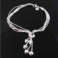 ASAMO Damen Armband mit 5 Herz Anhänger 925 Sterling Silber plattiert A1067