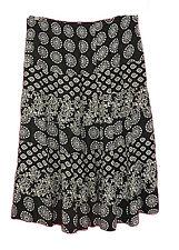 Avenue Black White Paisley Rayon Tiered Full Skirt Womens Plus Size 30/32 4X