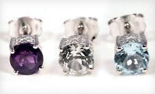 Genuine Gemstone Stud Earrings 3 Pair Set - Blue Topaz, White Topaz & Amethyst