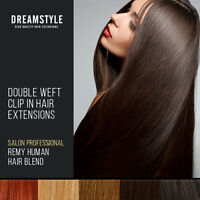 Double Weft Clip in Remy Human Hair Extensions Blend All Colours Extra Volume