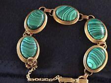 Jan Michaels Designer Malachite & Brass Bracelet ,Safety Chain,Vintage