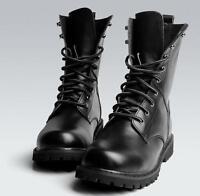 Punk Mens Ankle Boots Black Combat Leather Lace Up Army Top Shoes Plus Size A003