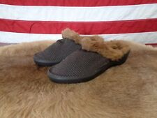 NEW ARCOPEDICO WOMENS 7 SLIPPERS BROWN CLOG LIGHT SHOES ARCH SUPPORT FUR LINED