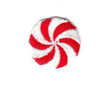 "PEPPERMINT CANDY RED & WHITE Small (1"") Iron On Patch Mints Candies"
