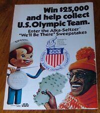 1980 SPEEDY ALKA SELTZER PRINT AD~US OLYMPIC TEAM SWEEPSTAKES~SAMMY DAVIS JR