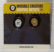 * INVISIBLE CREATURE Set of 2 Enamel Pins CYCLOPS MUMMY Famous Monsters ? Badge