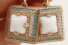 Turkish Jewelry Square White Onyx Turquoise Topaz 925 Sterling Silver Earrings