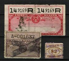 USA Revenue Stamps Fiscal Timbre Fiscaux Tax Customs Service and Consular servic