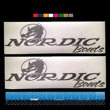 """2 (TWO)   NORDIC BOATS  Marine HQ Decals 12"""" - Silver Metallic + more"""