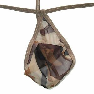 N3022A Hot Mens Teardrop String Thong Pouch Camo prints C-thru Mesh