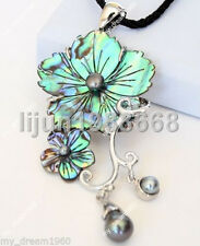 New Zealand Natural Colorful Black Abalone Shell Flower Pearl Pendant Necklace