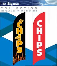 CHIPS ADVERTISING FLAG INCLUDING ALUMINIUM POLE + STAKE SET.MADE TO ORDER.
