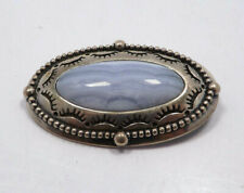 Carolyn Pollack Relios Sterling Silver Blue Lace Agate Concho Brooch or Pendant