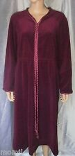 Vintage VANITY FAIR Burgundy Velour Long Lounge Dress/Robe, Satin Trim, Sz L