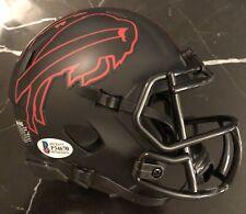 Tremaine Edmunds Signed Buffalo Bills Black Eclipse Mini Helmet Beckett COA