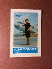 USSR Pocket Calendar 1981 Soviet Airlines airplane AEROFLOT stewardess Service!