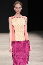 Barbara Bela Sz 36 Runway S/S 2012 Silk Mesh Fringe Skirt Sleeveless Dress NWT