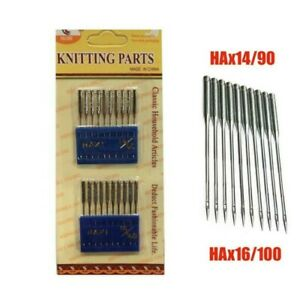 20Pcs Flat Round Domestic Home Sewing Machine Needles for Brother Janome Singer