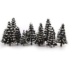 16 Mixed Scale Model Cedar Trees w Snow Diorama Train Railway Winter Scenery