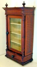 Antique Victorian Step Back Spice Cabinet Cupboard Glass Door With Drawer