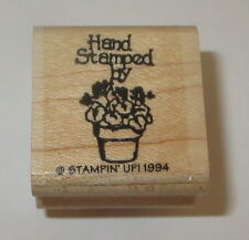 Hand Stamped By Rubber Stamp Flower Basket Stampin' Up! Retired Wood Mounted