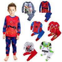 Super Hero Spider-Man Avengers Infant Kids Boys Nightwear Sleepwear Pajamas Set