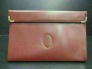 Authentic Cartier Must Line Pouch Clutch Bag Bordeaux Leather Good 90164