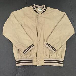 Vintage Duke Haband Snap Windbreaker Jacket Mens Large Tan Lightweight